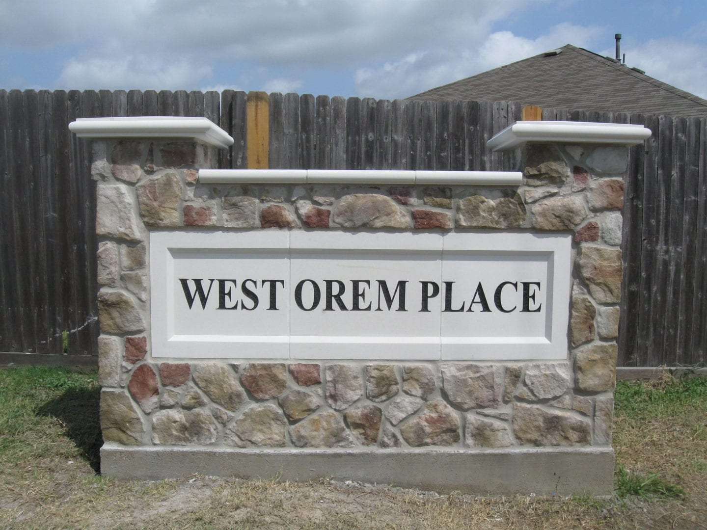 West Orem Place Sign   Monuments and Masonry Fence Repair serving Houston-Metro Area